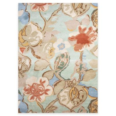 Jaipur Blue Collection Floral 9-Foot 6-Inch x 13-Foot 6-Inch Area Rug in in Blue/Red