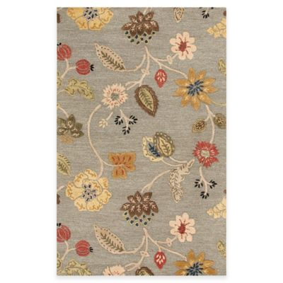 Jaipur Blue Collection Floral 3-Foot 6-Inch x 5-Foot 6-Inch Area Rug in Blue/Red