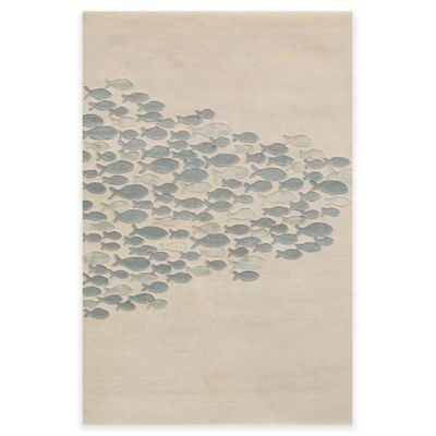 Jaipur Coastal Resort Schooled Hand-Tufted 3-Foot 6-Inch x 5-Foot 6-Inch Area Rug in Ivory/Blue