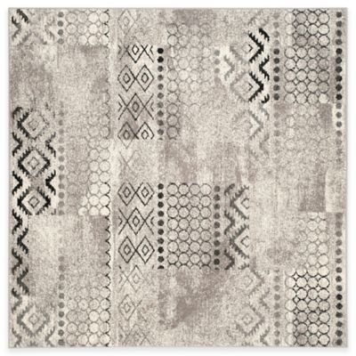 Safavieh Evoke Collection Southwest 6-Foot Square Area Rug in Cream/Dark Grey