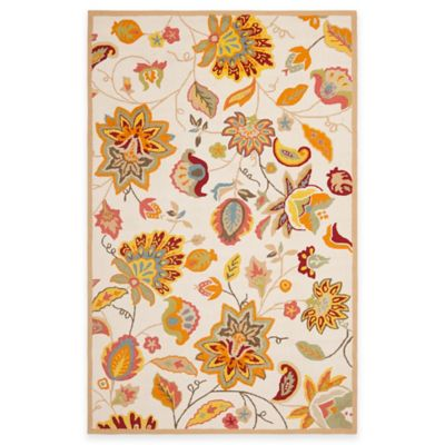 Safavieh Four Seasons Paisley Floral 4-Foot x 6-Foot Indoor/Outdoor Area Rug in Ivory/Yellow