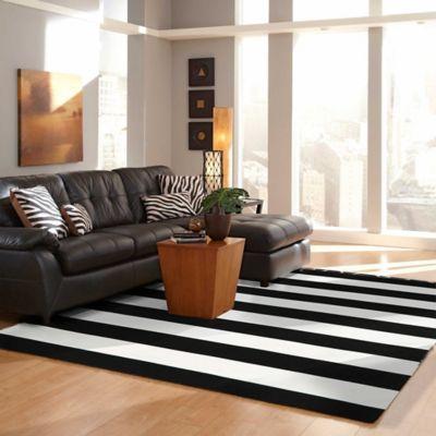 Trans-Ocean Rugby Stripe 7-Foot 6-Inch x 9-Foot 6-Inch Indoor/Outdoor Area Rug in Black/White