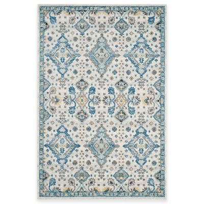 Safavieh Evoke Collection Diamonds 8-Foot x 10-Foot Area Rug in Ivory/Light Blue