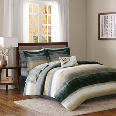 Madison Park Essentials Saben Full Comforter Set in Taupe/Black