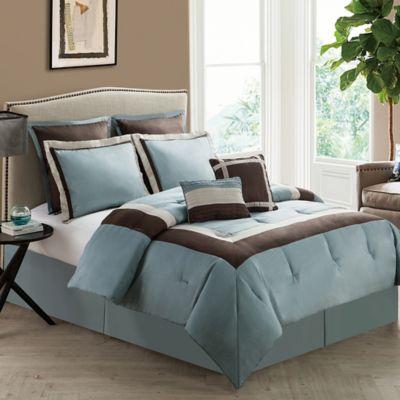 VCNY Hotelier 8-Piece Queen Comforter Set in Blue/Chocolate