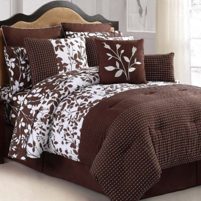 VCNY Shadow Vine 8-Piece Queen Comforter Set in Chocolate/White
