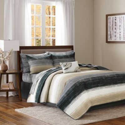 Madison Park Essentials Saben Full Coverlet Set in Taupe/Black
