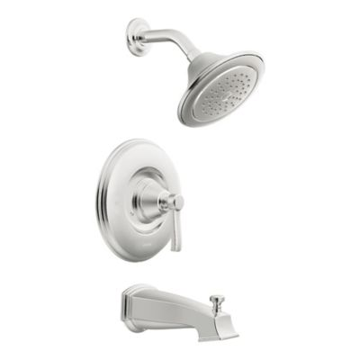 Moen® Rothbury Posi-Temp 1-Handle Wall Mount Tub and Shower Faucet in Chrome