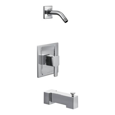Moen® 90-Degree 1-Handle Wall Mount Bathroom Tub and Shower Faucet in Brushed Nickel