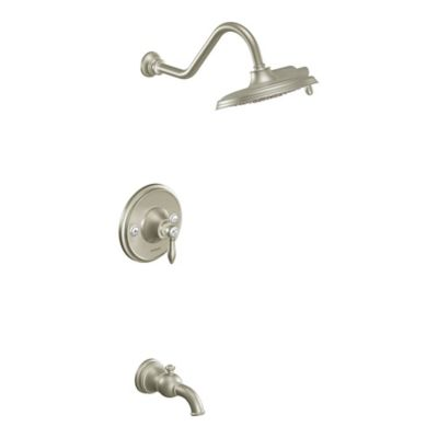 Moen® Weymouth 1-Handle Wall Mount Shower and Bath Faucet in Brushed Nickel