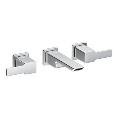 Moen® 90-Degree 2-Handle Wall Mount Bathroom Faucet in Brushed Nickel