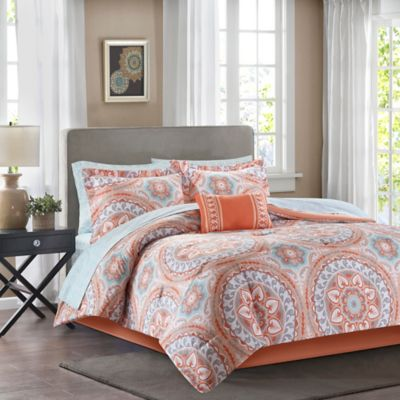 Madison Park Essentials Serenity 9-Piece Full Comforter Set in Coral