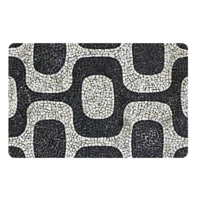 The Softer Side by Weather Guard™ Modern Mosaic Kitchen Mat in Black/White