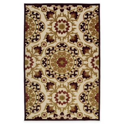 Kaleen Five Seasons Medallion 2-Foot 1-Inch x 4-Foot Indoor/Outdoor Accent Rug in Brown