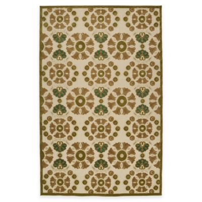 Kaleen Five Seasons Multi-Medallion 2-Foot 1-Inch x 4-Foot Indoor/Outdoor Accent Rug in Brown