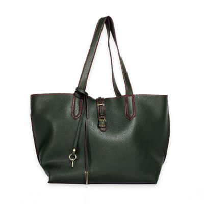 Tutilo Feature Flat Double Handle Tote Bag in Olive