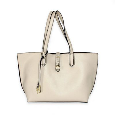 Tutilo Feature Flat Double Handle Tote Bag in Ivory