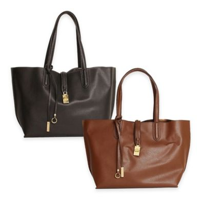 Tutilo Feature Foil Double Handle Tote Bag in Brown
