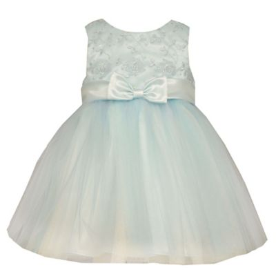 Bonnie Jean Size 2T Sleeveless Embroidered Floral Ballerina Dress in Turquoise