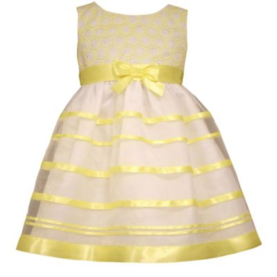 Bonnie Jean Size 2T Sleeveless Embroidered Circle Organza Dress in Yellow