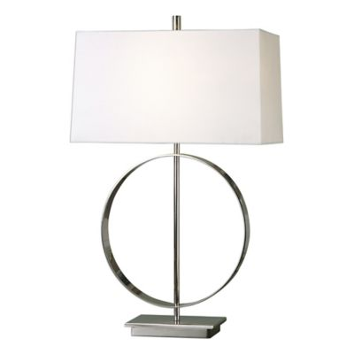 Nickel with Linen Shade Lamps