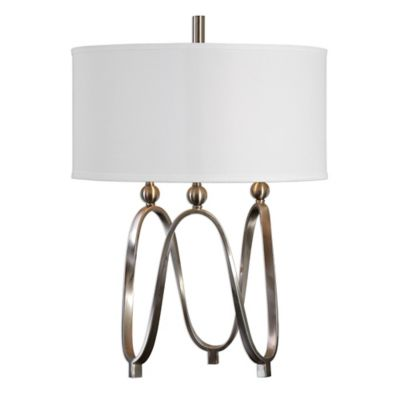 Uttermost Akiro Table Lamp in Brushed Nickel with Linen Shade