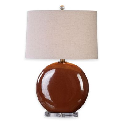 Uttermost Alento Rust Table Lamp in Bronze with Linen Shade