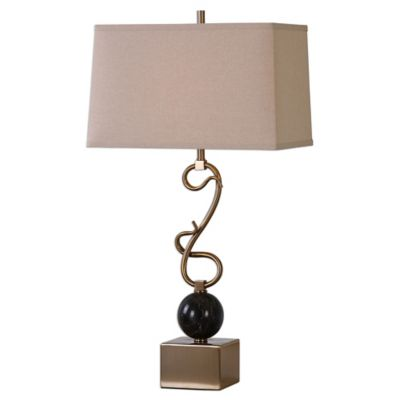 Uttermost Attila Coffee Table Lamp in Bronze with Linen Shade