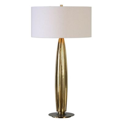 Gold with Linen Shade Lamps
