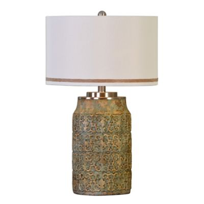 Uttermost Ceronda Table Lamp in Mushroom Grey with Linen Shade