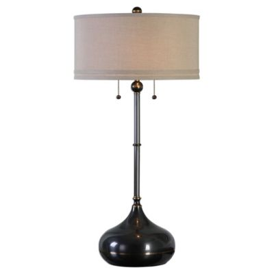 Uttermost Dounia Table Lamp in Dark Bronze with Line Shade