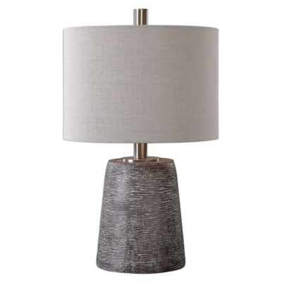 Uttermost Duron Ceramic Table Lamp in Bronze with Linen Shade