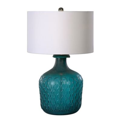 Uttermost Laval Glass Table Lamp in Blue with Linen Shade
