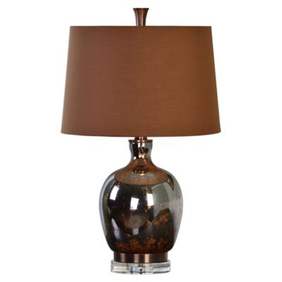 Uttermost Lilas Mercury Glass Table Lamp in Bronze with Linen Shade