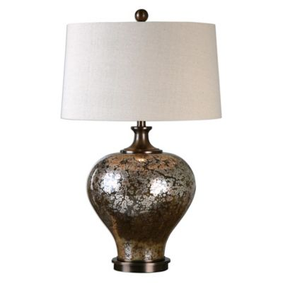 Uttermost Liro Mercury Glass Table Lamp in Bronze with Linen Shade