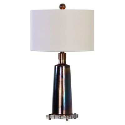 Uttermost Raciti Table Lamp in Dark Bronze with Round Linen Hardback Shade