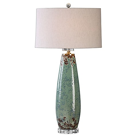uttermost rovasenda table lamp in mint green crackle with. Black Bedroom Furniture Sets. Home Design Ideas