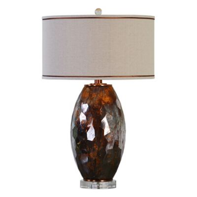 Uttermost Sebastian Glass Table Lamp in Bronze with Linen Shade