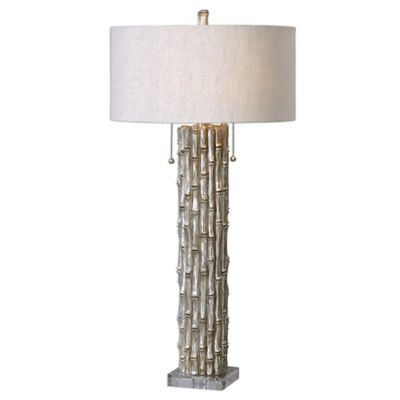 Uttermost Bamboo Table Lamp in Silver with Light Beige Linen Round Drum Shade