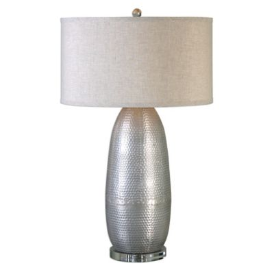 Uttermost Tartaro Industrial Table Lamp in Silver with Light Beige Round Hardback Drum Shade