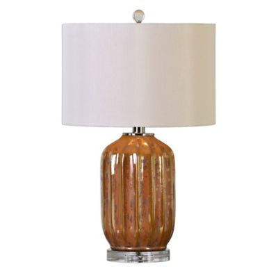 Uttermost Tiber Table Lamp in Rust Bronze with Ivory Round Drum Shade