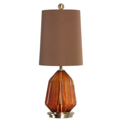 Uttermost Tomoka Glass Table Lamp in Dark Amber with Tapered Round Hardback Chocolate Bronze Shade