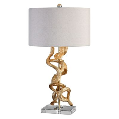 Uttermost Twisted Vines Table Lamp in Bright Gold Leaf Finish