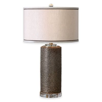 Uttermost Varaita 1-Light Metallic Table Lamp in Bronze with Linen Shade