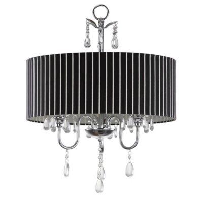 Safavieh Abbeville 3-Light Chandelier in Chrome with Black/White Linen Shade