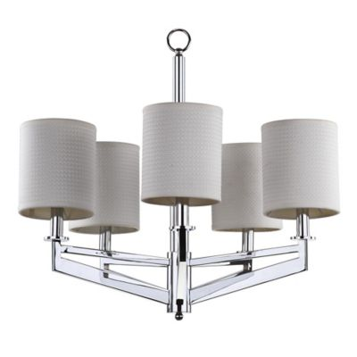 Safavieh Axis 5-Light Chandelier in Chrome with White Linen Shade