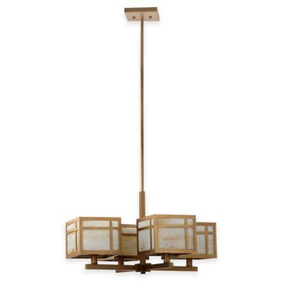 Safavieh Craftsman 4-Light Ceiling Mount Chandelier in Antique Gold with Amber/White Glass Shade
