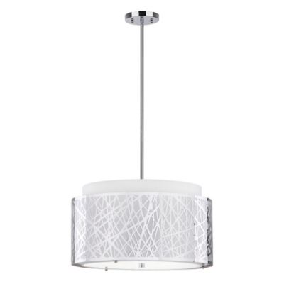 Safavieh Double Tree 3-Light Pendant in Chrome with Cotton Shade