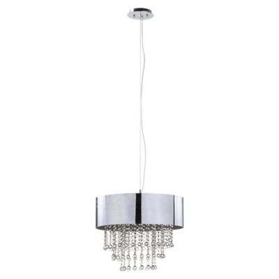 Safavieh Musette Pendant Chandelier in Chrome with Steel Shade