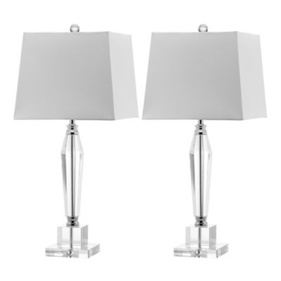 Safavieh Aiden Table Lamps in White with Linen Shade (Set of 2)